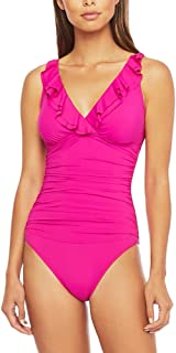LAUREN RALPH LAUREN 拉夫·劳伦女式沙滩俱乐部纯色褶皱斜襟连体泳衣(粉色)