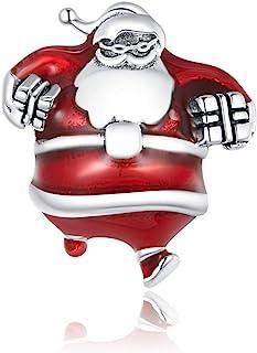 VOROCO 925 纯银圣诞圣诞风格圣诞老人雪人铃铛驯鹿鲁道夫饰物适用于潘多拉家庭魅力手链