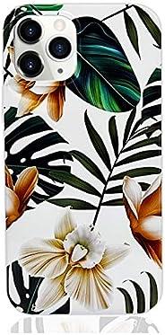 HUIYCUU 兼容 iPhone 12 Pro Max 6.7 英寸手机壳,柔软可爱修身女孩女士光面白色棕色热带叶花卉设计图案防震保险杠全身盖适用于 iPhone 12 Pro Max,花朵