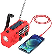 Tiemahun 应急太阳能动力手摇曲柄 AM/FM/NOAA 天气警报收音机,配有 5000 mAh 移动电源,手电筒,阅读灯和 SOS 警报,适用于露营小工具(红色)