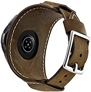 BIFOLEN 兼容三星 Galaxy 手表 46 毫米 / Gear S3 Frontier / 经典怀旧带,22 毫米皮革袖口手链替换表带(男式和女式不锈钢搭扣)(咖啡色)