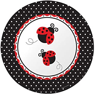Creative Converting Ladybug Fancy Round Large Banquet Plates,10 1/4in, 8-Count,