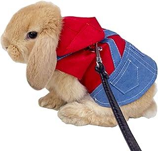 Anelekor 小宠物服装 兔子衣服雪貂连帽衫运动衫 兔子背心胸背带和皮带套装 小猫毛衣 小动物服装 适合吉娃娃小猫 迷你狗和小品种 (A, L)