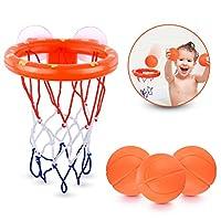 briteNway 趣味籃球籃球框和球玩具套裝 適合小男孩和女孩 | 浴缸射擊游戲 | 可粘在任何平面上的吸盤杯 + 包括 3 個球