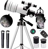 ToyerBee 成人和儿童望远镜,70 毫米光圈天文折射器望远镜,适合天文学初学者(15X-150X),300 毫米便携式望远镜,带手机适配器和无线遥控器