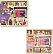Melissa & Doug 木制邮票,一套2件装-公主和友谊,配18个印章,10支彩色铅笔和