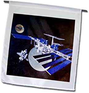 3dRose fl_94503_1 德克萨斯休斯顿纳萨空间中心航空 US44 Mde0178 Michael Defreitas 花园旗帜,12 x 18 英寸