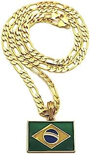 GWOOD 巴西国旗小号吊坠带 60.96 厘米长费加罗链金色