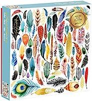 Galison Feathers 成人和家庭用拼图,500片,鸟羽毛铝箔,来自世界各地的小鸟羽毛拼图玩具