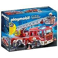 Playmobil 摩比世界 带消防梯的消防车,带灯光和声音,4岁以上儿童
