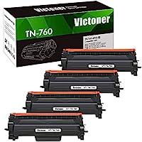 Victoner 兼容硒鼓替換件適用于 Brother TN760 TN-760 TN 760 TN-730 TN730 Brother HL-L2350DW HL-L2395DW L2390DW HL-L2370DW MFC-L2750DW MFC-L2710DW DCP-L2550DW (黑色,4PKK) )