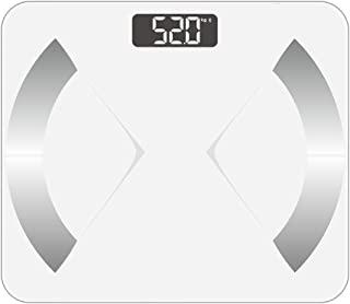 蓝牙智能体*秤 带 iOS/Android App - 数字体浴室秤适合体重、体脂、水、肌肉面具、BMR、骨质和粘胶*,400 磅,白色