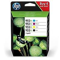 HP 惠普 原裝打印機墨盒 953XL 多件裝(藍色/紅色/黃色/黑色) 廣泛適用于惠普 Officejet Pro 8210, 8710, 8720, 8730, 8740
