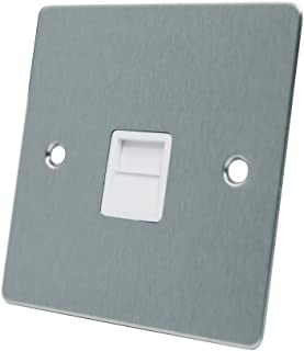 AET FSCTELSWH 绸缎铬平头电话从属 BT 电话辅助延长插座带白色嵌条