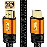IBRA 2.1 橙色 HDMI 电缆 8K 超高速 48Gbps 引线 | 支持8K@60HZ、4K@120HZ、43…