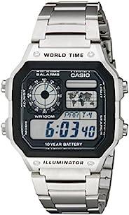 CASIO 卡西欧 AE1200WHD-1A 男士不锈钢数字手表,Silvertone,One Size