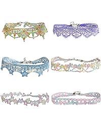 LINKY 彩色蕾丝颈链项链女式女孩珠宝套装 多彩