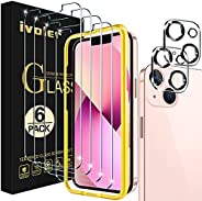 [6 件装] iVoler 屏幕保护膜,带 2 件装相机镜头保护膜钢化玻璃,适用于 13 6.1 英寸,带对准框架,易于安装