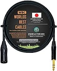 2 英尺 - 由 WORLDS BEST 电缆定制的四重平衡接线电缆 - 使用 Mogami 2534 线和 Neutrik NC3MXX-B 公头 XLR 和 NP3X-B TRS 立体声电话插头。