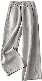 IDEALSANXUN 女式松紧腰棉亚麻裤宽松休闲裤