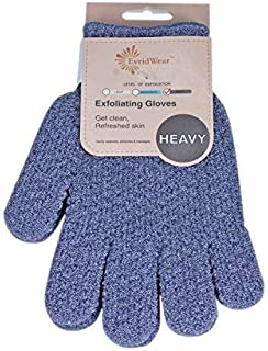 EvridWear 去角质双重纹理沐浴手套适用于淋浴、Spa、按摩和身体磨砂、死皮*去除剂、带悬挂环的手套 1 Pair Heavy