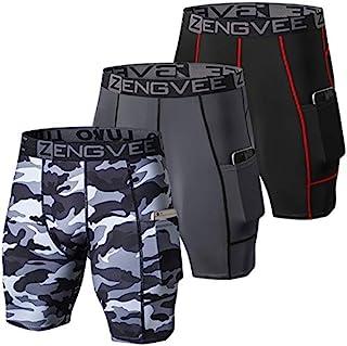 ZENGVEE 男式 3 件装压缩短裤带口袋运动内衣内衣,适用于跑步、锻炼、训练, 3 黑色 + 灰色 + 迷彩黑色, Small