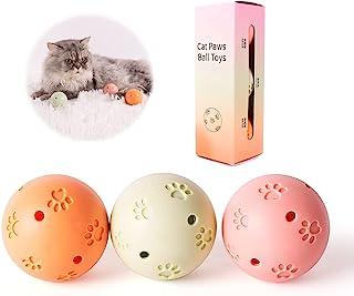 OurMiao 猫玩具球,带铃铛和猫薄荷 3 件装,互动猫踢球玩具,塑料猫铃铛球 3 种颜色
