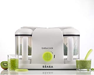 BEABA Babycook Duo 婴儿4合1辅食机,食品加工机、搅拌机和炊具,蒸锅烹饪,15 分钟自制婴儿食品,2 x 1100毫升容量,霓虹