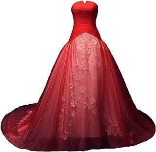 Kivary 长款薄纱白色花卉蕾丝紧身胸衣彩色新娘婚纱礼服