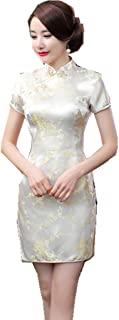 Shanghai Story 女式花卉短款 Qipao 人造丝旗袍中国连衣裙