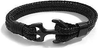 HelloNita 中性款钛钢锚手链编织人造皮革绳腕带,男女适用