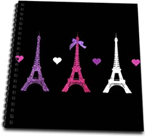 """3dRose db_113151_1 Girly Eiffel Tower-hot pink purple black Paris towers love hearts stylish French modern France-Drawing Book, 8 by 8"""""""
