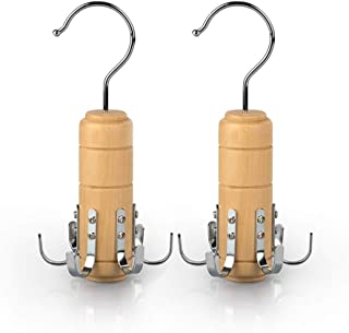 SUNTRADE 木制腰带领带架围巾衣架适用于衣橱,用于腰带领带围巾背心和珠宝(2,6 个挂钩)