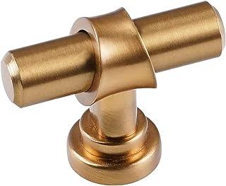 Triumph Hardware 拉丝黄铜橱柜把手 T 形杆单孔拉手家具五金厨房拉香槟青铜金色抽屉梳妆台旋钮1-3/4 英寸(45 毫米)长度 10 包