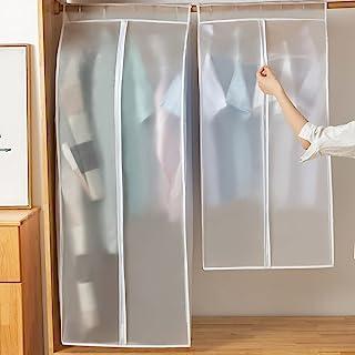 服装衣服保护罩,大号半透明防尘和防潮悬挂衣柜储物袋,带魔术胶带和拉链,非常适合用作连衣裙、西装、外套、夹克和长衣服