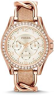 Fossil Riley 女士石英不锈钢计时表(型号:ES3203)