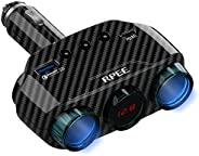 点烟器适配器分路器 3 插座点烟器分路器 18W PD QC 3.0 快速车载充电器,适用于 iPhone、三星、GPS、行车记录仪(碳纤维线)