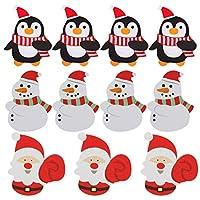 ARTIBETTER 150 張圣誕棒糖卡片糖果夾裝飾圣誕老人企鵝圖案糖果包裝裝飾圣誕派對用品