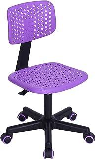 GreenForest 儿童学生椅,低背无扶手可调节旋转人体工程学家庭办公室学生电脑桌椅,镂空星星紫色