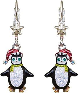 Kirks Folly Playful Penguins Leverback 耳环(银色)圣诞节,冬季乐趣