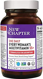 New Chapter 50种女士复合维生素+机体抵抗能力支持-每位妇女每天一片,适合55+年龄的人群,含发酵益生元+全食品+虾青素+Organic Non-GMO成分-72粒