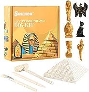SuSenGo 挖掘工具包,世界传统金字塔化石挖掘,6 个真正的化石(埃及奥帕特拉,法老图坦卡蒙,图坦卡蒙金厅,埃及猫神,Anubis,Horus)