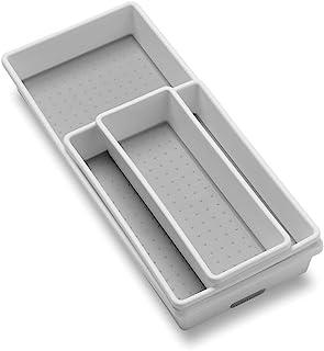 madesmart 经典 3 托盘箱包 - 白色 | 经典系列 | 多功能存储 | 软抓内衬和防滑橡胶脚 | 耐用| 不含双酚 A