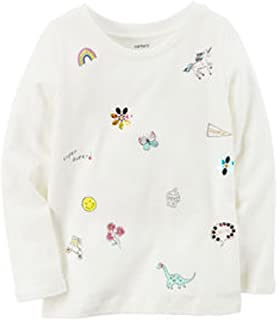 Carters 学步女童上衣-女孩长袖上衣-白色点缀幼儿上衣 1224M