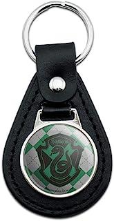 黑色皮革哈利波特Slytherin格子标志钥匙扣