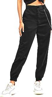 ZAFUL 女式高腰纯色慢跑裤户外工装裤带链子