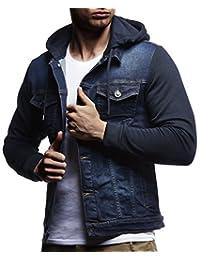 Leif Nelson 男式运动夹克 | 男式复古牛仔夹克 | 修身长袖连帽牛仔夹克