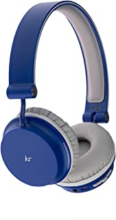 KitSound Metro 蓝牙耳机 轻巧紧凑,带旋转耳罩和可拆卸 3.5 毫米音频线,兼容 Apple iPod、iPhone、iPad 以及安卓智能手机、平板电脑和MP3 播放器 - 蓝色