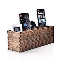 遥控器支架,4 槽木制遥控器收纳架,多功能遥控盒,用于存放电视遥控器、游戏控制台、手机、笔、办公用品