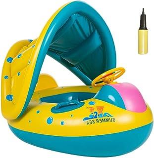 YOUCANDO 婴儿泳池漂浮游泳圈,带顶篷和浮泵,充气浮动游泳圈,适合 6-36 个月幼儿使用